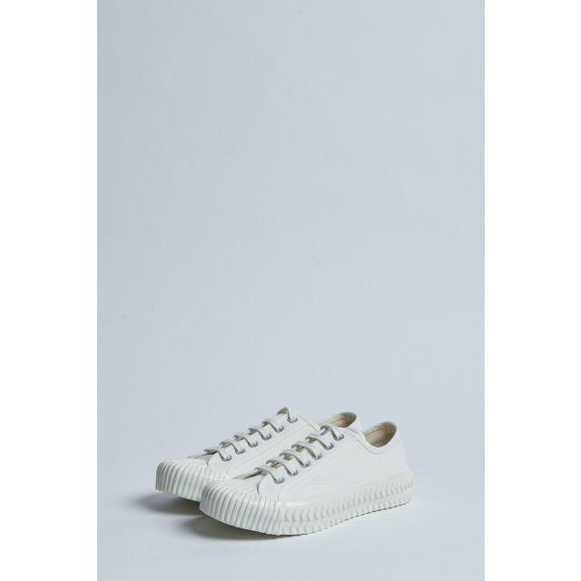 sneaker bianca in tela con suola in gomma
