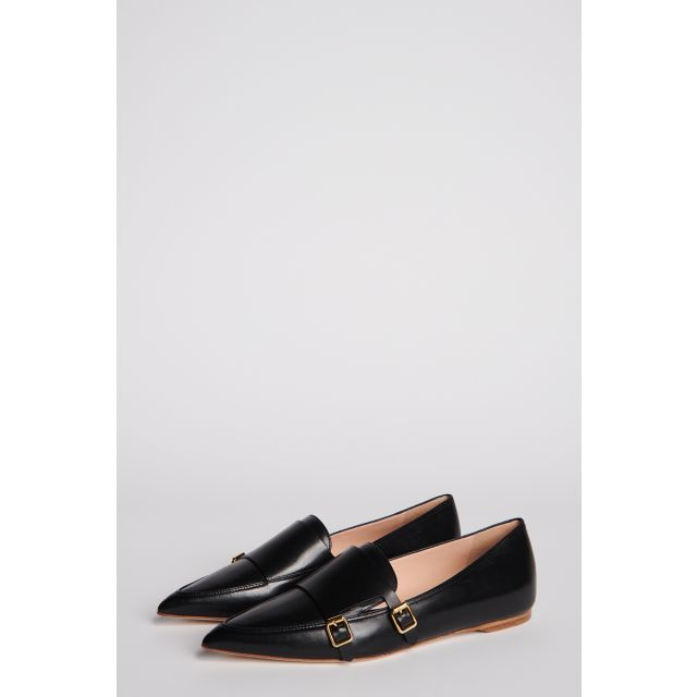 Black leather loafer with double buckle