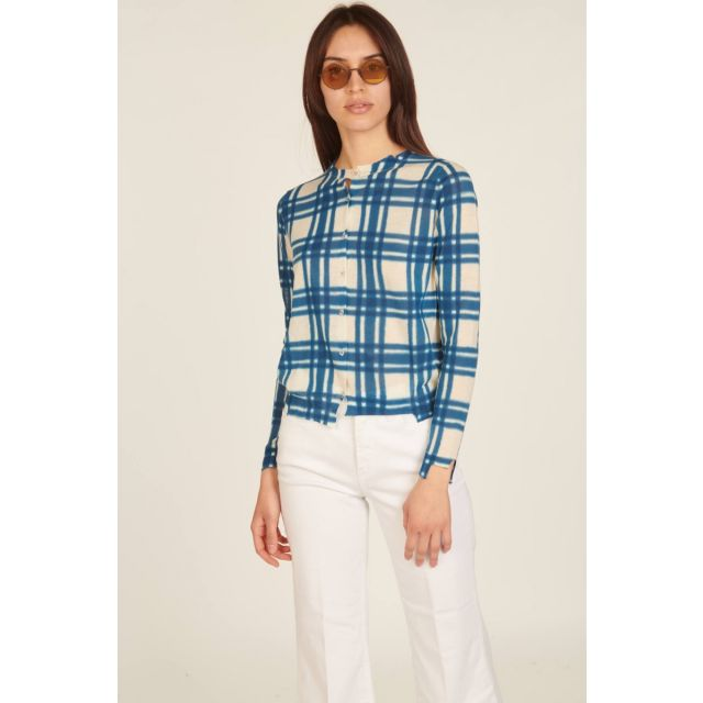 Ivory and blue asymmetric checked cardigan