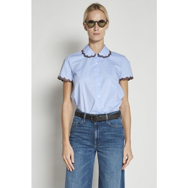 Light blue short-sleeved cotton Shirt with embroidered scalloped collar and cuffs