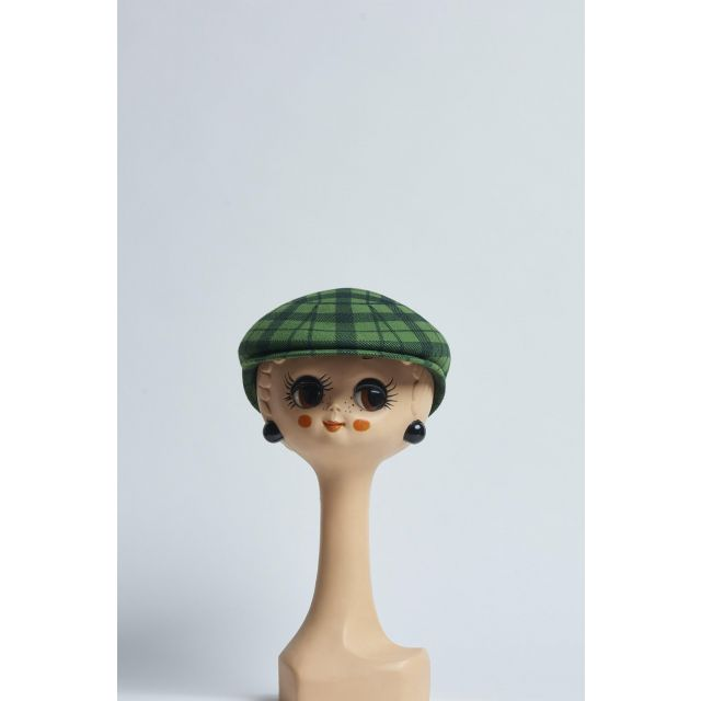 green and black checked flat cap