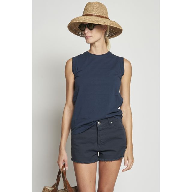 Dark blue cotton tank top