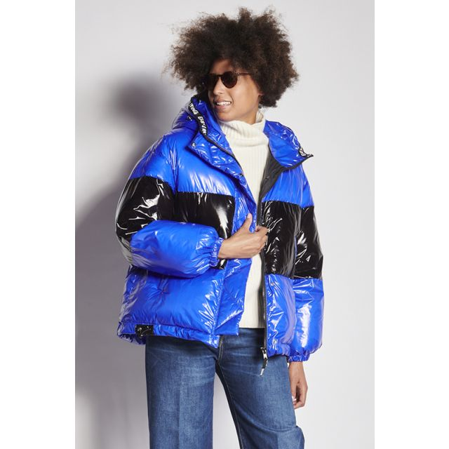 Blue down jacket with black patent band