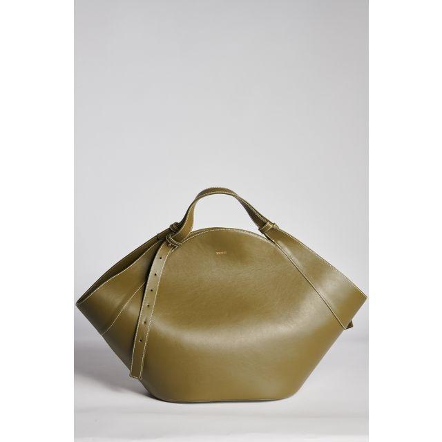 Big geometrical shopping bag olive