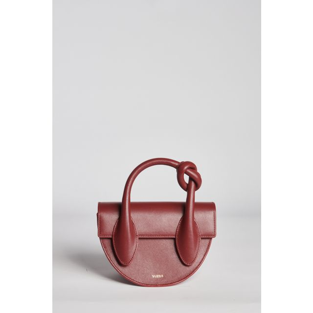 Burgundy leather bag with knot