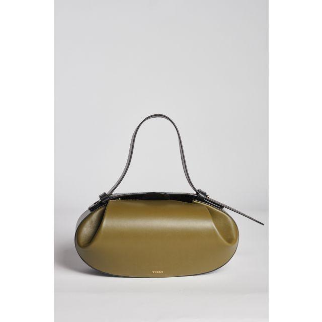 Olive oval leather bag