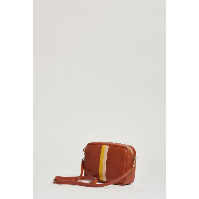 leather-colored shoulder bag with yellow and pink stripes