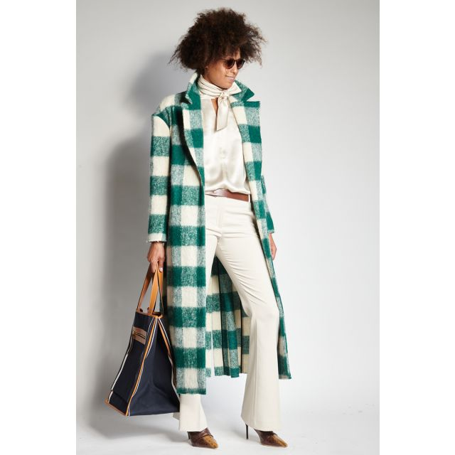Ivory and green checked coat
