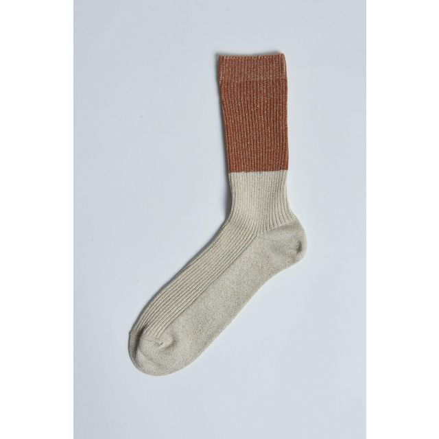 two-tone ribbed white and bronze socks