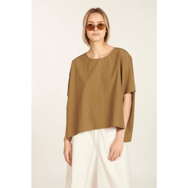 Brown structured cotton T-shirt