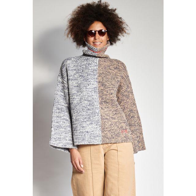 Maglione bicolor in lana