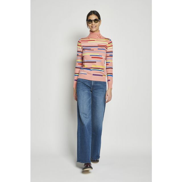 wool and cashmere sweater with a stripy pattern