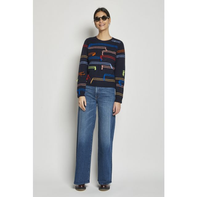 wool and cashmere sweater with stitched embroidery