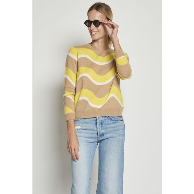 Maglione in cashmere a onde beige e gialle