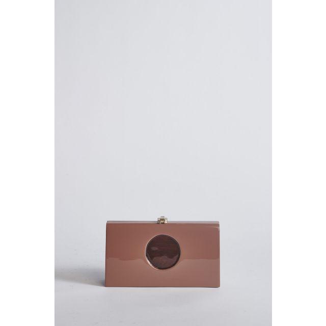 Powder pink wood clutch