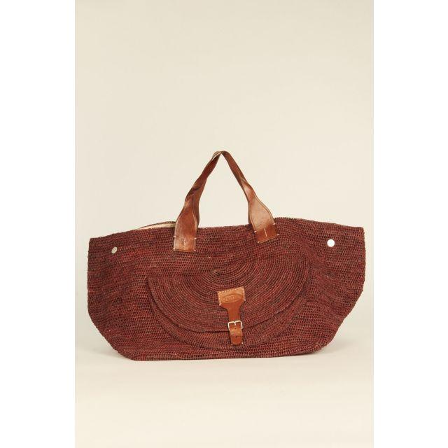 Brown Laza woven rafia bag