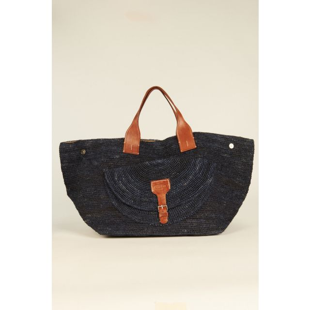 Navy Blue Laza woven rafia bag