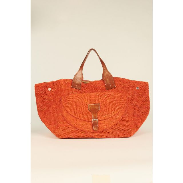 Orange Laza woven rafia bag