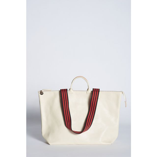 Le Zip Sac white leather tote