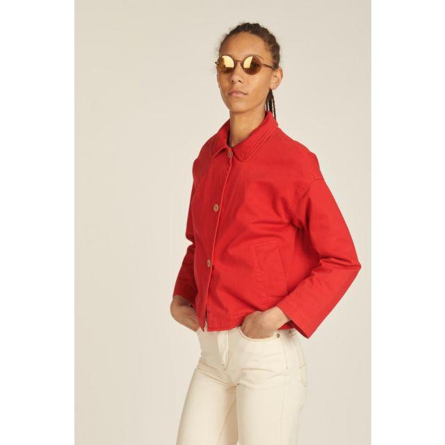 Red denim jacket