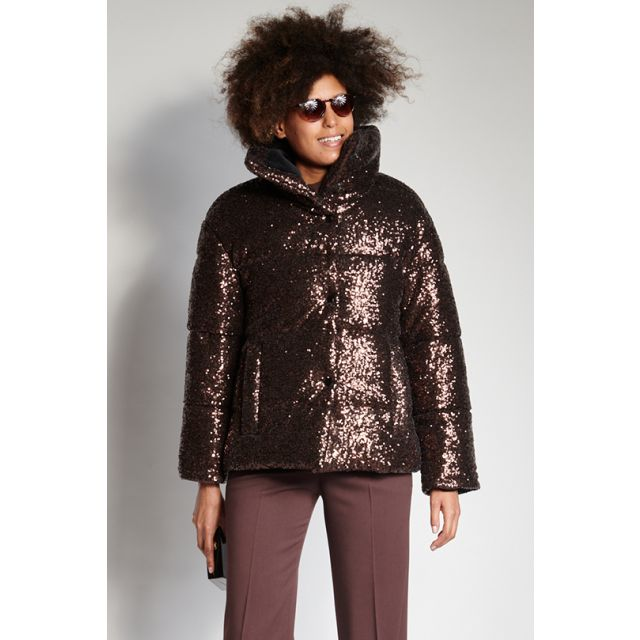 Brown down jacket with sequins