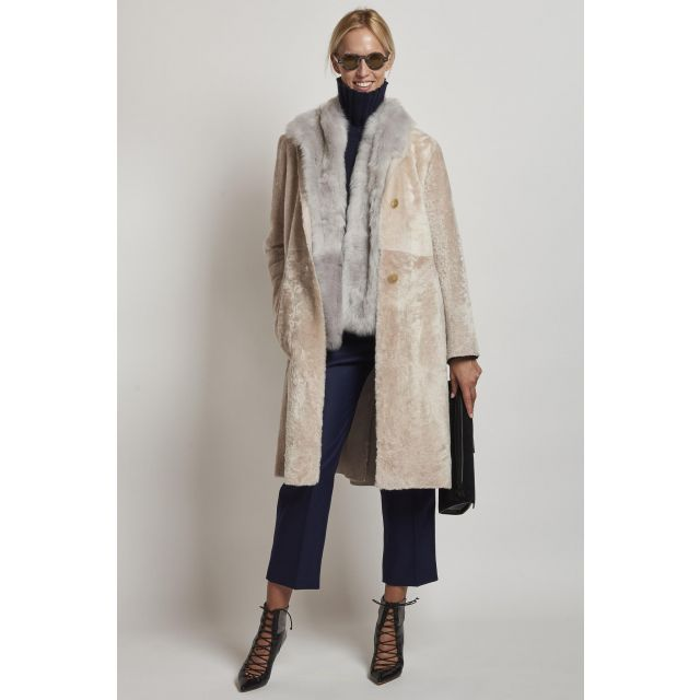 long sheepskin with scarf