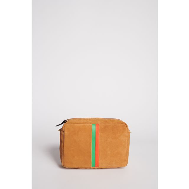 Suede crossbody bag with orange and green stripes