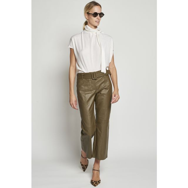 Green leather trousers with belt