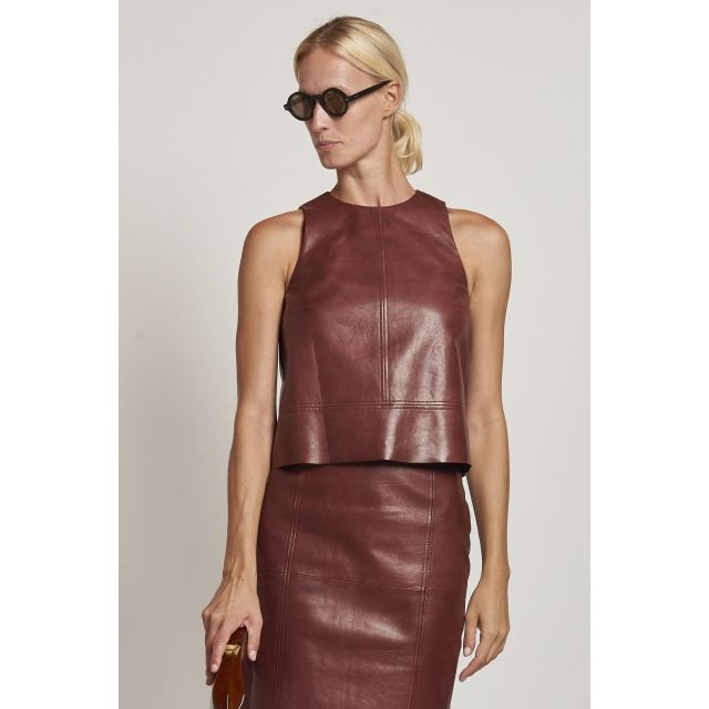 brown leather top