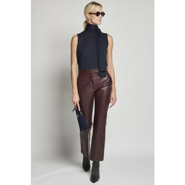 burgundy leather straight trousers