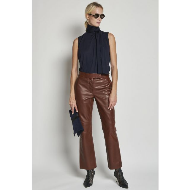 straight brown leather trousers
