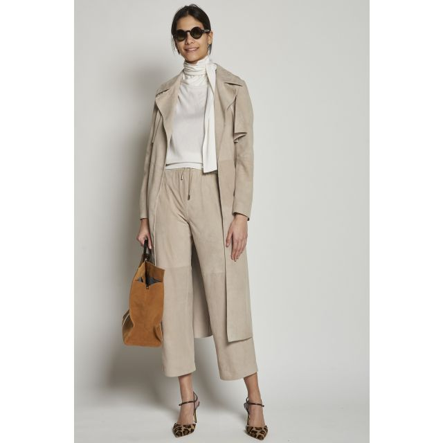 Beige suede trench coat