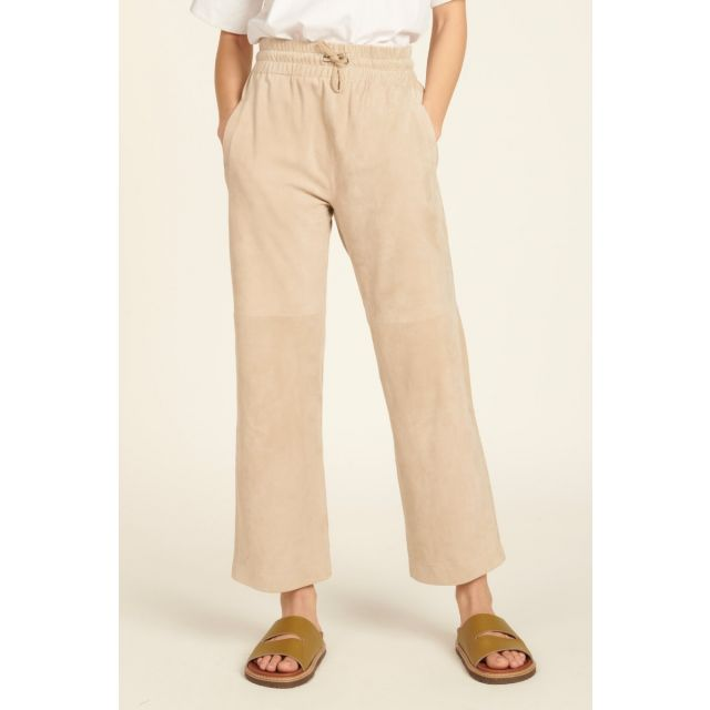 Beige suede trousers with elastic