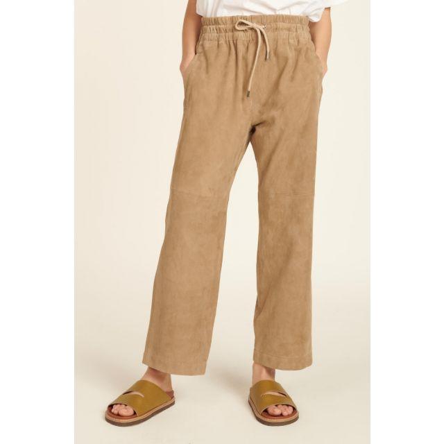 Pantaloni tortora in camoscio con elastico