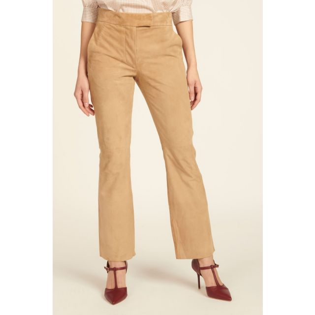 milaura leather pantalone dritto beige in camoscio