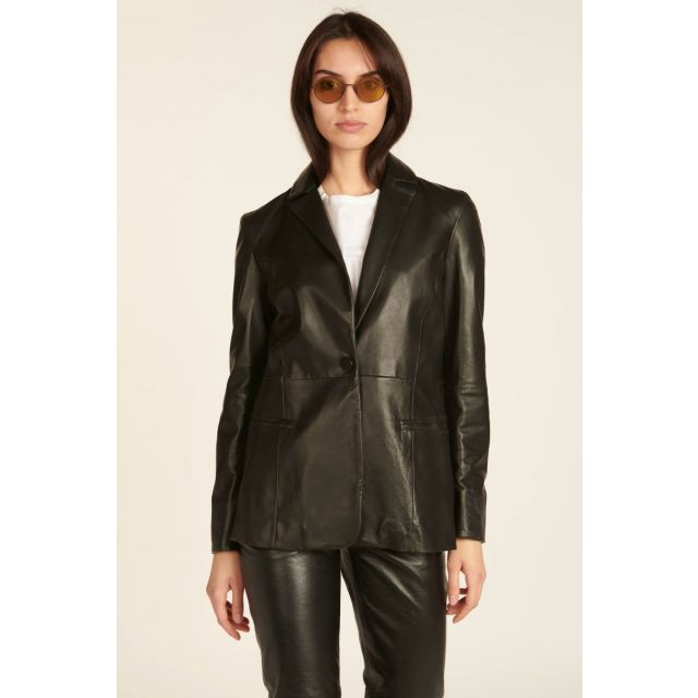 milaura leather blazer nero monopetto in pelle