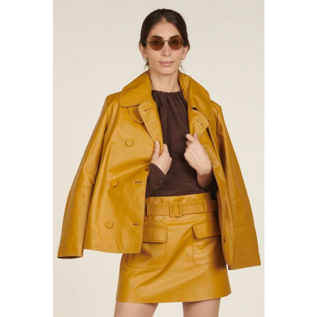 Double breasted mustard peacoat in leather