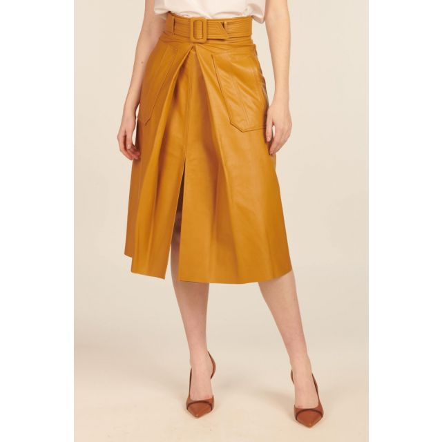 Mustard leather skirt