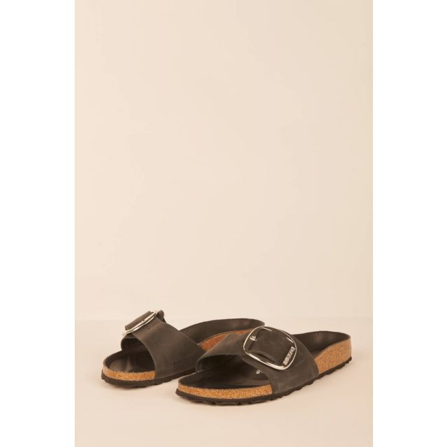Madrid Big Buckle black sandals