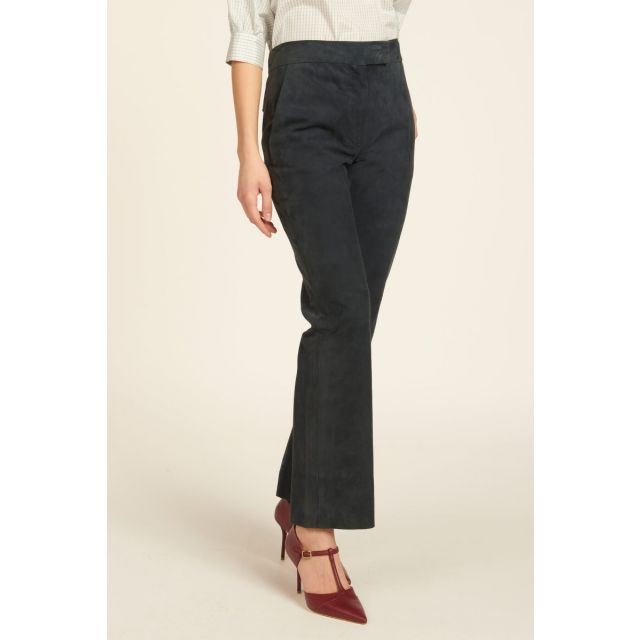 blue suede straight trousers