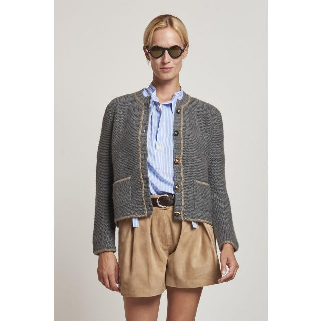 gray cardigan with buttons