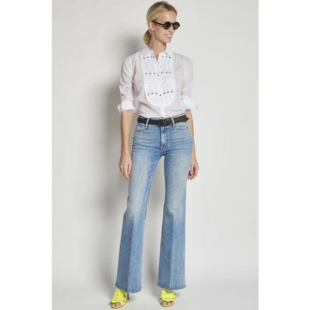 light blue washed flared jeans