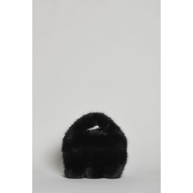 black faux fur handbag with pon pon