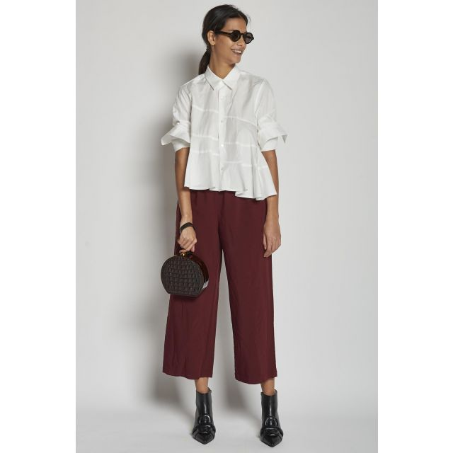 burgundy trousers with drawstring