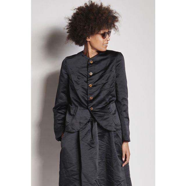 Black satin round neck jacket