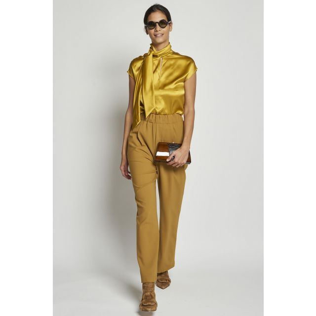 yellow trousers with elastic