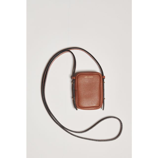 Small tobacco pouch in leather with shoulder strap