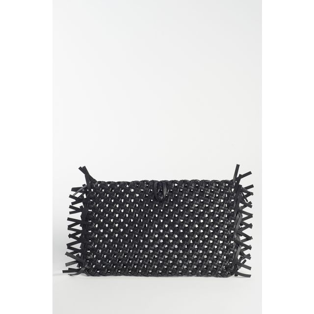 Braided black clutch bag