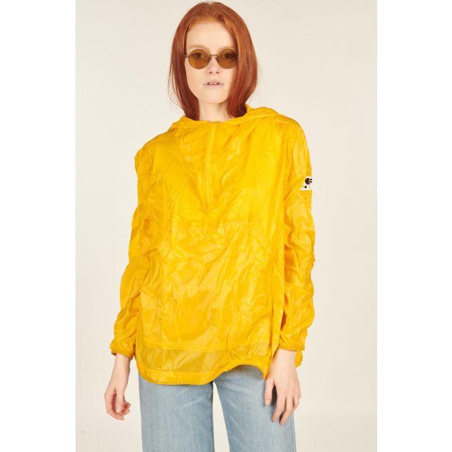 Yellow folding jacket with hood