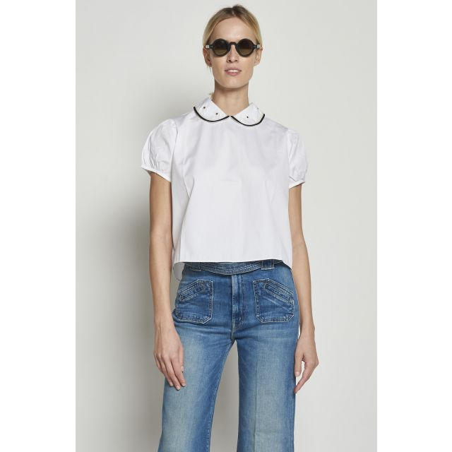 White short-sleeved cotton shirt